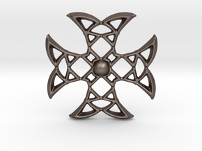 Pointed Cross in Polished Bronzed-Silver Steel