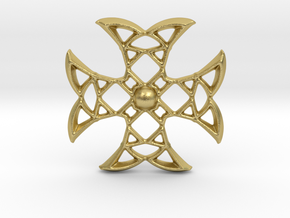 Pointed Cross in Natural Brass