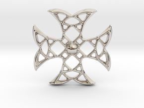 Pointed Cross in Rhodium Plated Brass