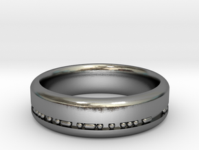 6mm Morse Code Ring [Customisable] - US Size 9.5 in Polished Silver: 9.5 / 60.25