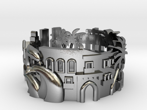 Miami Cityscape Ring in Polished Silver: 8 / 56.75