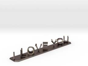 I Love You / I Hate You in Polished Bronzed-Silver Steel