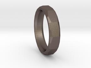 Geometric Men's ring in Polished Bronzed-Silver Steel
