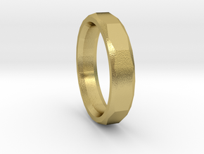 Geometric Men's ring in Natural Brass