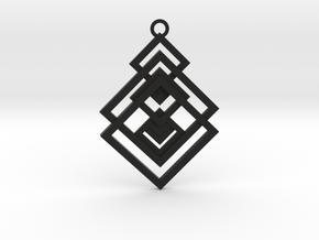 Geometrical pendant no.17 in Black Natural Versatile Plastic: Medium