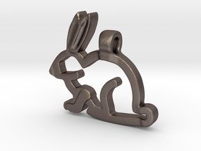 Rabbit in Polished Bronzed-Silver Steel