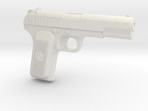 1:3 Miniature Soviet TT-33 Gun  in White Natural Versatile Plastic