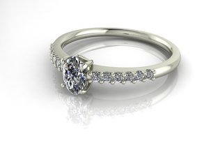 Classic Solitaire 23 5.5 BY 3.5 OVAL NO STONES SUP in 14k White Gold