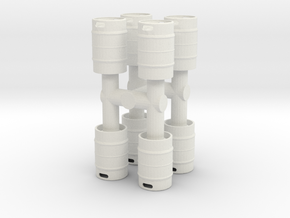Beer Keg (8 pieces) 1/24 in White Natural Versatile Plastic