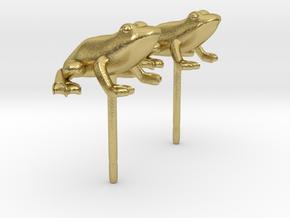 Frog Earrings in Natural Brass