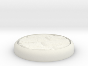 "Cobblestone 1"" Circular Miniature Base Plate in White Natural Versatile Plastic"
