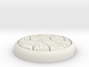 "Fancy 1"" Circular Miniature Base Plate in White Natural Versatile Plastic"