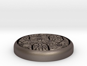 """Fancy 1"""" Circular Miniature Base Plate in Polished Bronzed-Silver Steel"""