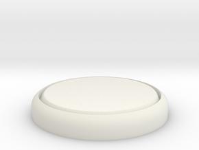 "Flat 1"" Circular Miniature Base Plate in White Natural Versatile Plastic"