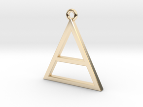 Pure Gold or Silver Triangle, Special Gift  in 14k Gold Plated Brass