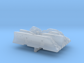 Damaged Jersey barrier (x4) 1/144 in Smooth Fine Detail Plastic