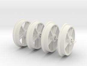RSQW1 Rhosydd Slate Quarry 5 Spoke Wheels (SM32) in White Natural Versatile Plastic