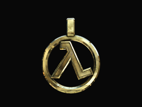 Half-Life - Lambda Pendant in Polished Brass