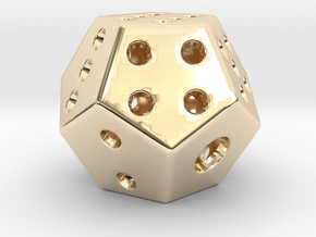 Double six die [pendant] in 14k Gold Plated Brass