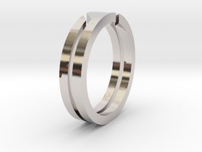 Z double ring in Rhodium Plated Brass