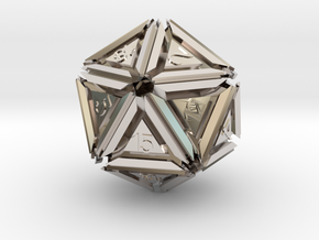 Dice: D20 edition 5 in Rhodium Plated Brass