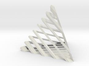 Striped tetrahedron no. 1 in White Natural Versatile Plastic