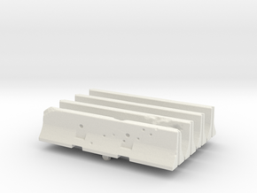 Jersey barrier (x4) 1/72 in White Natural Versatile Plastic