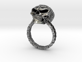Women's Flaming Skull Ring With Roller Chain in Antique Silver