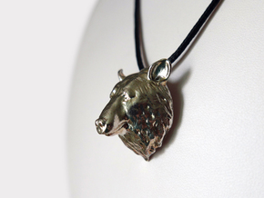 Bear Head Pendant in Natural Silver