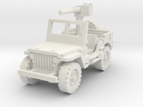 Jeep Willys 50 cal (window up) 1/76 in White Natural Versatile Plastic