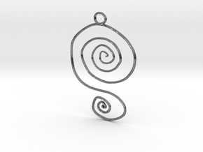 :Spiral Swirl: Pendant in Fine Detail Polished Silver