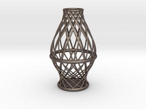 Spiral Vase Medium in Polished Bronzed Silver Steel