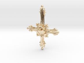 Inverted Cross Bone Pendant in 14k Gold Plated Brass