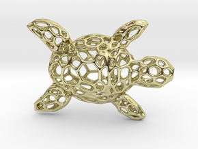 Turtle-Pendant-Shapeways-thickness-test2-0.6mmthic in 18k Gold Plated Brass