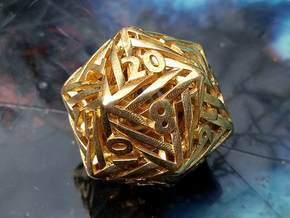 Helix d20 Mini in Natural Brass