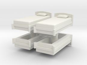 Single Bed (x4) 1/87 in White Natural Versatile Plastic