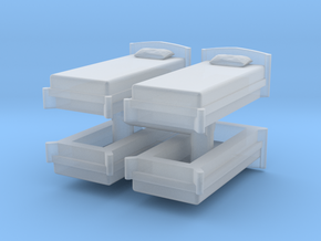 Single Bed (x4) 1/72 in Smooth Fine Detail Plastic