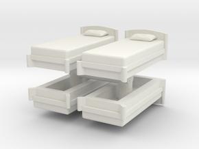 Single Bed (x4) 1/43 in White Natural Versatile Plastic