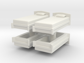 Single Bed (x4) 1/120 in White Natural Versatile Plastic