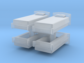 Single Bed (x4) 1/120 in Smooth Fine Detail Plastic