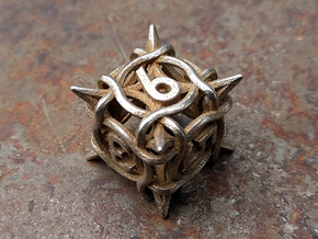 Thorn d6 V2 in Polished Bronzed-Silver Steel