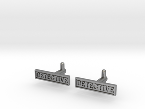 Detective Cufflinks (Style 2) Silver/Brass/Bronze in Natural Silver