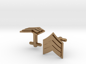 Sergeant Cufflinks - Silver,Brass,Gold in Natural Brass