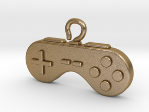 Retro Pendant for a nostalgic Gamer in Polished Gold Steel