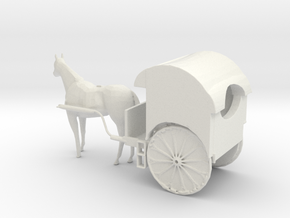 O Scale Horse Drawn Two Wheel Buggy in White Natural Versatile Plastic