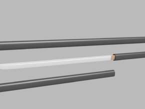 Katana - 1:12 scale - Straight blade - Plain in Smooth Fine Detail Plastic