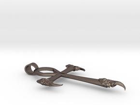 Dragon Ankh in Polished Bronzed-Silver Steel