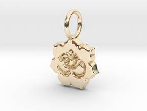 tiny om lotus in 14k Gold Plated Brass