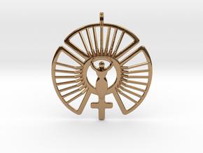 SOLAR FEMININE Venus Jewelry Symbol Necklace. in Polished Brass
