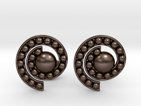 Nature Spiral Cufflinks in Polished Bronze Steel